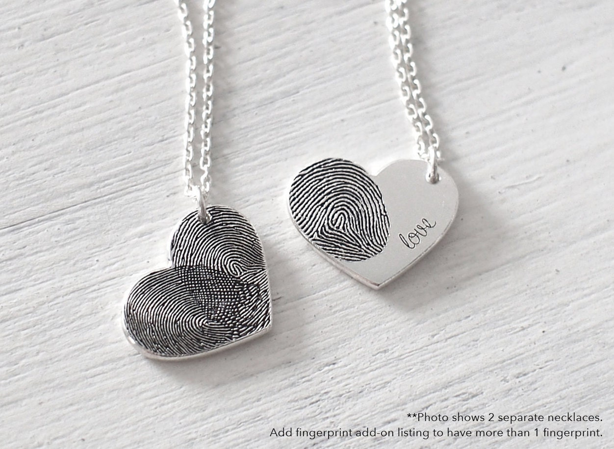products heart disc fingerprint personalised necklace