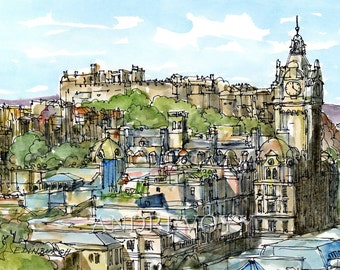 Edinburgh Scotland art print from an original watercolor painting