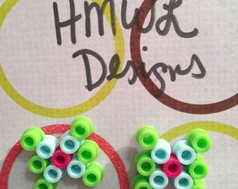 Lime Green, Light Blue and Pink Perler Bead Bows