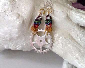 Chainmaille and Cog Necklace - Rainbow, Pride, Colorful, Link Necklace, Chain Maille