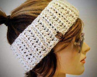 Crochet Alpaca Blend Headband in Cream w/ Suede Anchor Label/Crochet Earwarmer/Ponytail Hole Hat/Cream Head Band/Elegant Headband