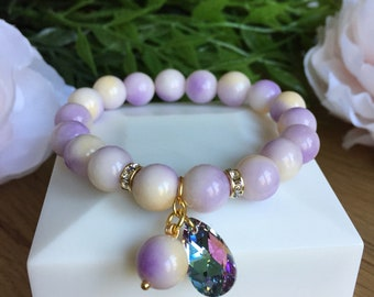 Lavander jade bracelet with Swarovski element
