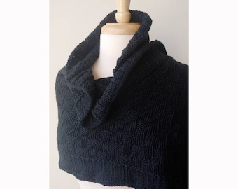 Rococo Hand Knit Shawl in BLACK - Luxurious Cotton and Silk Wrap, Women's, Scarf, Wedding, Ruffle, Bride, Natural, Made in USA