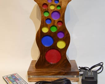 RGBW LED Remote Controlled Lighted Walnut and Acrylic Headphone Stand with Audio inputs/outputs