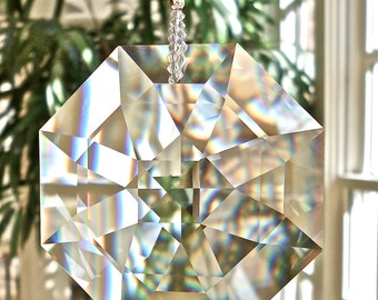 "Amazing Rainbows, Swarovski Crystal Suncatcher - Huge 60mm Crystal Octagon Window Hanger, Rainbow Maker - ""OCTAVIA VENTI"""