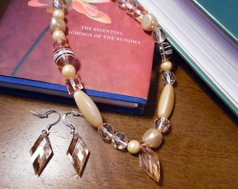 Asymmetrical Pink Bead Necklace and Earrings Set