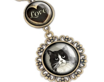 Fat Black and White Cat Love pendant necklace