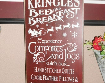 KRINGELE'S BED and BREAKFAST primitive Christmas wood sign