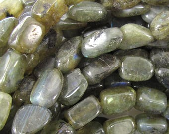 "7-11mm natural labradorite nugget beads 15.5"" strand 35274"