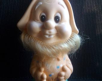 Vintage dwarf toy, Soviet vintage rubber gnome doll, antique gnome toy, Vintage rubber dwarf doll, Old toy, Retro dwarf toy, Collectible