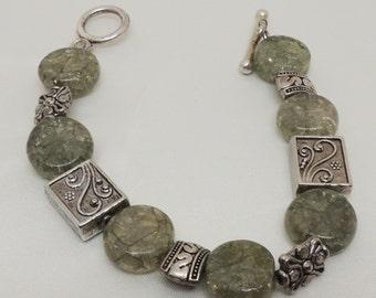 Vintage Green and Silver Bracelet
