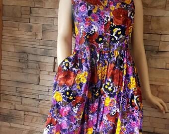 Purple cotton dress etsy purple flower dress80s dress with pocketsfull skirt dressloose fit summer dressvintage sun dresspurple cotton dress mightylinksfo
