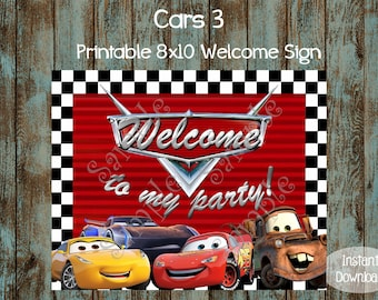 Cars Welcome Sign, Cars Printable Sign, Cars Birthday Party, Cars Party Sign, Race Cars Welcome Sign, Lightning Mcqueen Welcome Sign