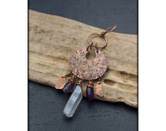 Single earring: Rustic copper crescent - Raw quartz dangle earring - Gemstone drop earring - New age jewelry - Energy crystals - Tribal moon
