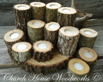 12  Rustic Candle Holders, Tree Branch Candle Holders, Rustic Wedding Centerpieces, Wood Candle Centerpieces