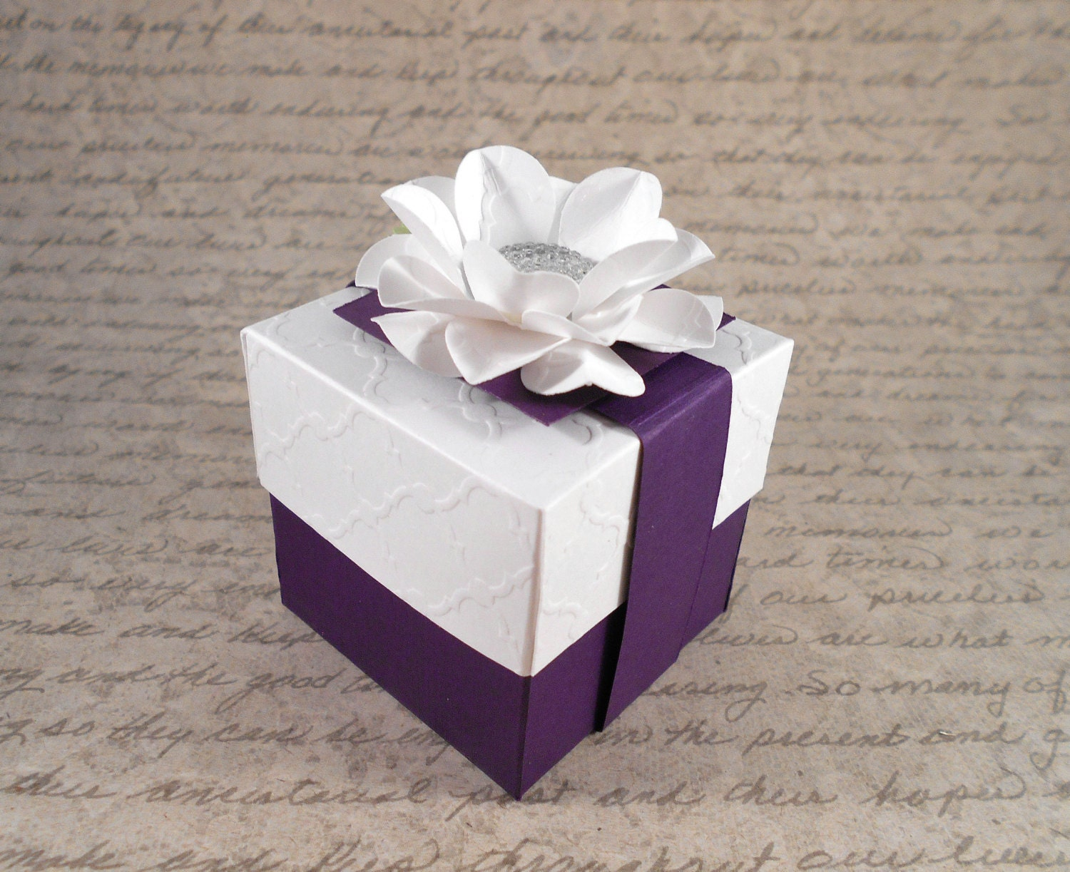 12 Gift Boxes, White Embossed and Purple, Baby Shower Favor Box ...