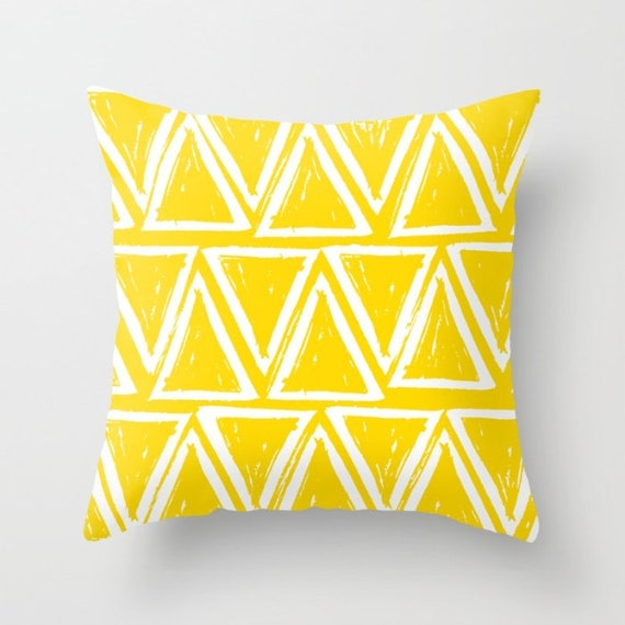 OUTDOOR Throw Pillow . Yellow Outdoor Pillow . Yellow patio cushion . Modern Geometric Pillow Triangle . 16 18 20 inch . Lumbar Pillow