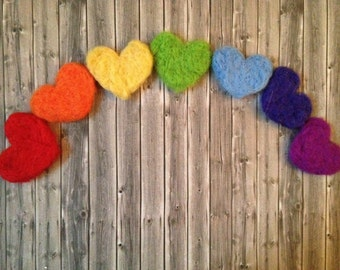 love hearts wool heart handmade needle felted natural party favor card topper heart rainbow colourful red yellow orange green blue purple