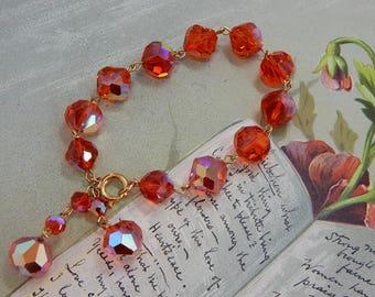 Bright Orange Faceted Large Crystal Single Strand Bracelet   OAH43
