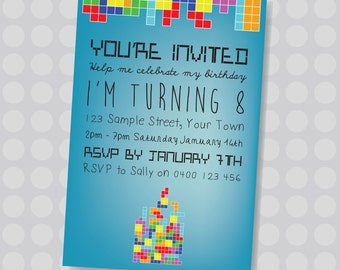 Mini Tetris, Game Boy, Little Gamers, Gaming Colourful Tetris Birthday Invitation || Downloadable Invitation || Printable JPG/PDF