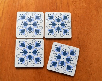"""Pretty """"Tile Style"""" Cork Backed Set of 4 Coasters"""