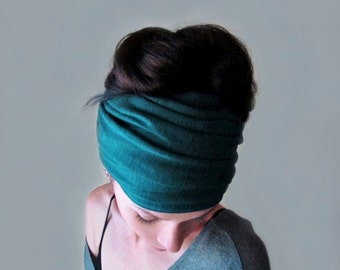 TEAL Headband, Jersey Knit Head Scarf, Dark Teal Blue Ear Warmer, Jewel Tone Headband, Boho Headbands for Women, Teal Blue Head Scarf
