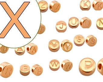 2x Letter Pearl x rose gold plated 7mm #3873