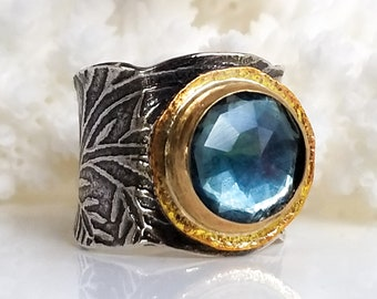 Rainbow Flourite Ring, Gold and Silver Ring, Large Stone Ring, Handmade Ring, Made To Order