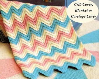 Baby Blanket Crochet Pattern, Crochet Baby Blanket Pattern, Crochet Crib Cover Pattern, Chevron Blanket, INSTANT Download Pattern PDF (1340)