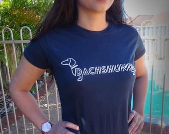 Women's Dachshund T-shirt- Dark Navy