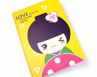 Kawaii geisha notebook yellow
