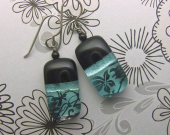Aqua Floral Dichroic Glass Earrings, Fused Glass Jewelry Handmade in North Carolina
