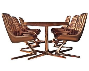 Vintage Chromcraft Sculpta/Star Trek Chairs/Vladimir Kagan Style (Only 1 set available in the entire world in this style/color)