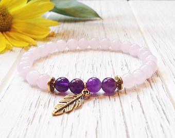 Rose Quartz Amethyst Bracelet For Women • Fertility Bracelet Crystals • Mala Bracelet • Rose Quartz Mala Beads • Heart Chakra Bracelet Yoga