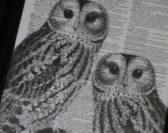 Owl Couple II Dictionary Art Print Wall Art Print Upcycled HHP Original Design and Concept