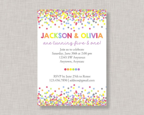 Sibling birthday invitation confetti birthday invitation filmwisefo