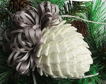 Fabric Pinecone Ornament- Creamy White Fabric and Silver Satin Bow - Christmas Ornament, Stocking Stuffer, Ornament Exchange, Co-Worker Gift