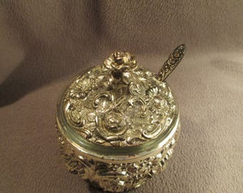 Vintage Silver Plated Ornate Floral Condiment Jelly Jar HF-0918 Harrison Fisher