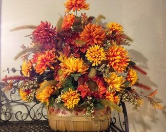 Fall Floral Arrangement in Basket