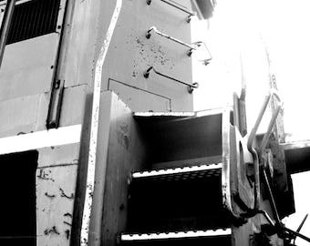 5 x 7 print, Vintage locomotive train, black & white photo with 8 x 10 mat, railroad, conductor