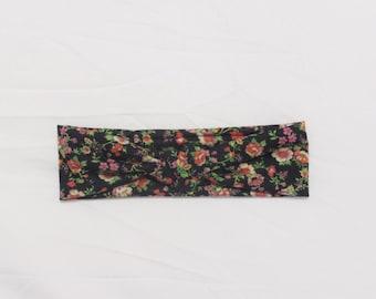 Black Floral Top Knot Headband, Turban Headband, Womens Headband