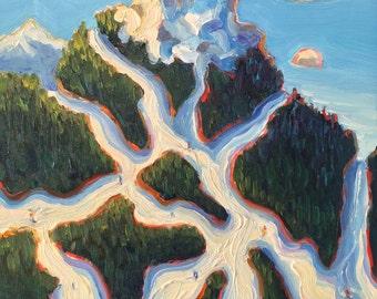 Original Winter Snow Ski Scene - Colorful Wall Art