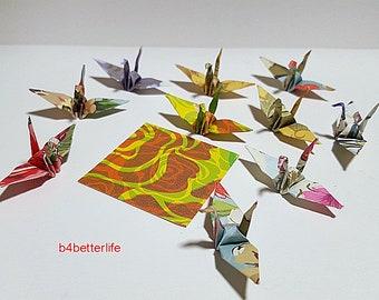 "Lot of 100pcs Floral Design 1.5"" Hand-folded Origami Paper Cranes. (JD Paper Series) #FC15-84c."