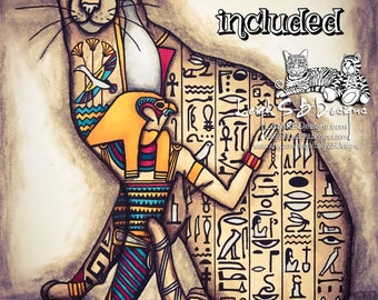 Horus the Egyptian Cat - fantasy digi line art Egyptian inspired cat adorned with hieroglyphs instant download