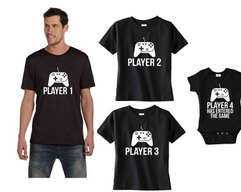 Sibling shirts Set of 4 Son Dad Daughter matching tees Player 1, 2, 3, Player 4 Has Entered the Game video game remote baby shower gift idea