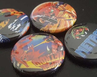 "Metroid 1"" Buttons/Pinback/Badges Rare Retro Gaming CIB Mint NES 8 Bit Nintendo Metroid 1980s Classic Gaming Video games"