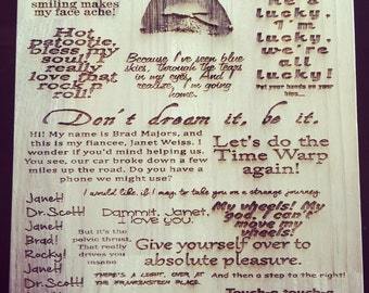 Rocky Horror Picture Show Inspired Quotes Wooden Etched Chopping Cutting Board