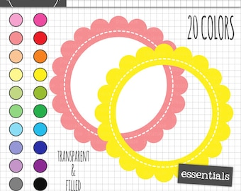 Stitched Scalloped Digital Frames, Stitched Journaling Label, Instant Download, Commercial Use