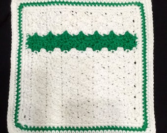 Crocheted Dishcloth, Cotton Dishcloth, Large Dishcloth, Green Stripe
