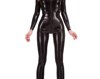 Rubber Latex Catsuit with Zip Front to back Made+Designed In UK RED LABEL R1608
